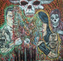 """Acrylic and ink on paper 12"""" x 12"""" $400.00"""