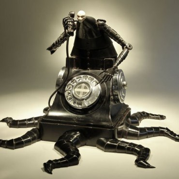 """Welded steel, cast pewter, telephone & beer tap parts 12"""" x 18"""" x 18"""" $4,500.00"""