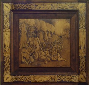 "Woodburning, pigment rub on wood 20.25"" x 20.25"" $750.00 Sold"
