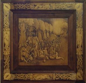 "Woodburning, pigment rub on wood 20.25"" x 20.25"" $750.00 Sold"