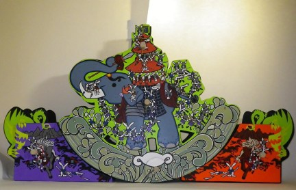 "Triptych Acrylic on MDF/Wood, foam and brass parts 55"" x 29"" x 6"" $4,000.00"