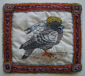 "Embroidery and beadwork on cotton and satin 7"" x 6"" in 9"" x 7"" frame $200.00 Sold"