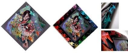 "Prismacolorpencils on toned Archival Illustration board Custom frame: resin encased origami cranes 16"" x 16"" in 21"" x 21"" frame $600.00"