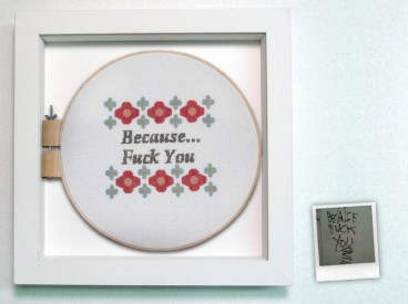 "Cross stitch in shadowbox with graffiti polaroid 16"" x 16"" x 2"" $375.00 Sold"