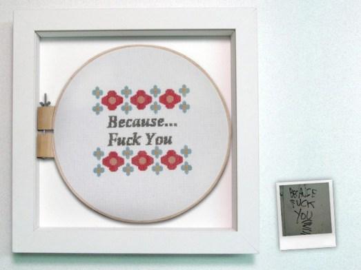 "Cross stitch in shadowbox with graffiti polaroid 16"" x 16"" x 2"" $375.00 Sold"