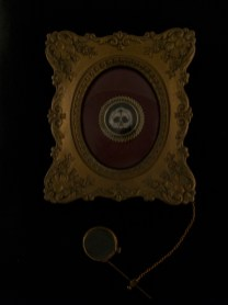 """Oil on metal with antique magnifying glass 5.5"""" x 5.5"""" $250.00 Sold"""