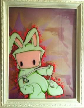 """Acrylic on plexi, aerosol on canvas 18"""" x 24"""" in 20"""" x 26"""" frame $600.00"""