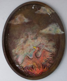 "Mixed media on rusted metal plate 19.5"" x 24"" $400.00"