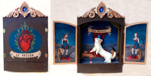"Ermine mount, acrylic on mahogany, felt, ornament 24"" x 22"" x 5"" $500.00 Sold"