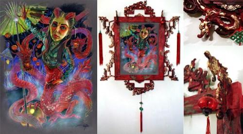 """Prismacolorpencils on toned Archival Illustration board Custom frame: urethane cast dragons, goldleaf, LED 18"""" x 24"""" in 36"""" x 40"""" frame $1,500.00"""