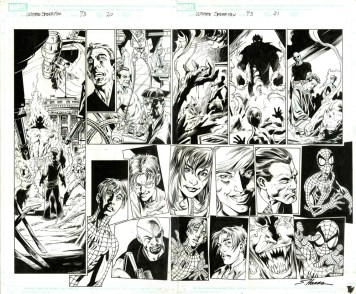 "Issue #73, Pages 20-21: Double Page Splash Full Cast Flashback Graphite and ink on board 22"" x 17"" $1,500.00"