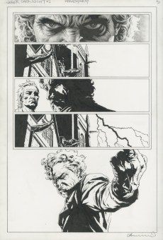 """Issue #1, Page 5: Joker Released from Arkham Graphite and ink on board 11.5"""" x 17"""" Sold"""