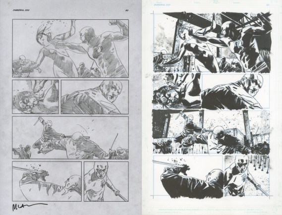 """Issue #500, Page 30: Lady Bullseye, Kingpin battle, Graphite on paper and ink on board 11"""" x 17"""" (x 2) Sold"""