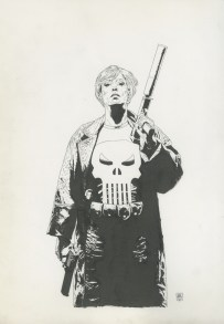 "Punisher #49, Cover: Widowmaker conclusion Graphite and ink on board 11.5"" x 17"" $1,200.00"