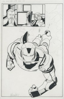 "Issue #18, Page 22: Splash First Appearance of The Iron Patriot Graphite and ink on board 11"" x 17"" $1,200.00"