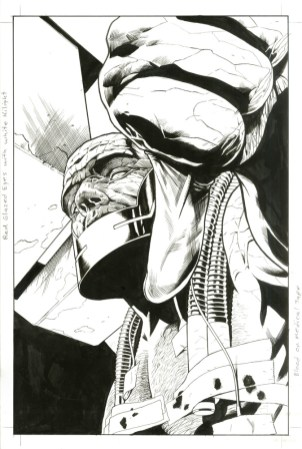 """Issue #4, Page 30: Darkseid Revealed Splash Page Graphite and ink on board 11"""" x 17"""" Sold"""
