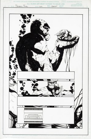 """Issue #1, Page 13: The Thing & Doctor Doom Graphite and ink on board 11.2"""" x 17"""" Sold"""