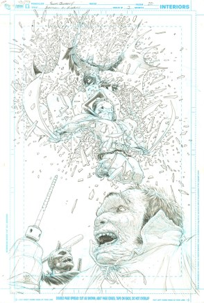 """Issue #3, Page 20: Principle Action Hero Splash Page Graphite on board 11"""" x 17"""" Sold"""