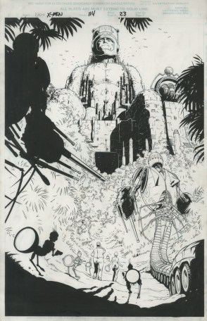 """Issue #114, Page 23: E is for Extinction Sentinel Reveal Splash Page Graphite and ink on board 11"""" x 17"""" $2,400.00"""