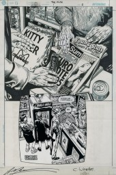 "Issue #1, Page 2: First Appearance of Greg Feely Graphite, ink and stat on board 11.6"" x 17"" Sold"
