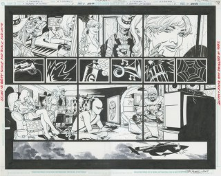 """Issue #0, Pages 18 & 19: Full Team Double Page Splash Graphite and ink on board 22"""" x 17"""" $1,200.00"""