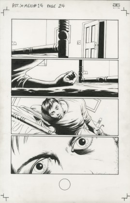 """Issue #14, Page 24: Cyclops Loses His Powers Graphite and ink on board 11"""" x 17"""" $1,000.00"""