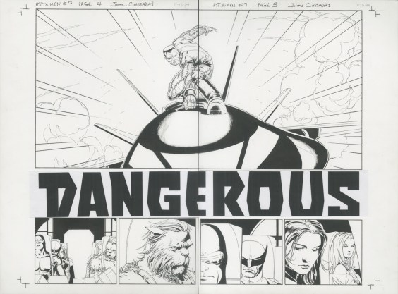"""Issue #7, Pages 4 & 5: Colossus Returns to Battle Full Team, Double Title Page Splash Graphite and ink on board 23"""" x 17"""" $4,000.00"""