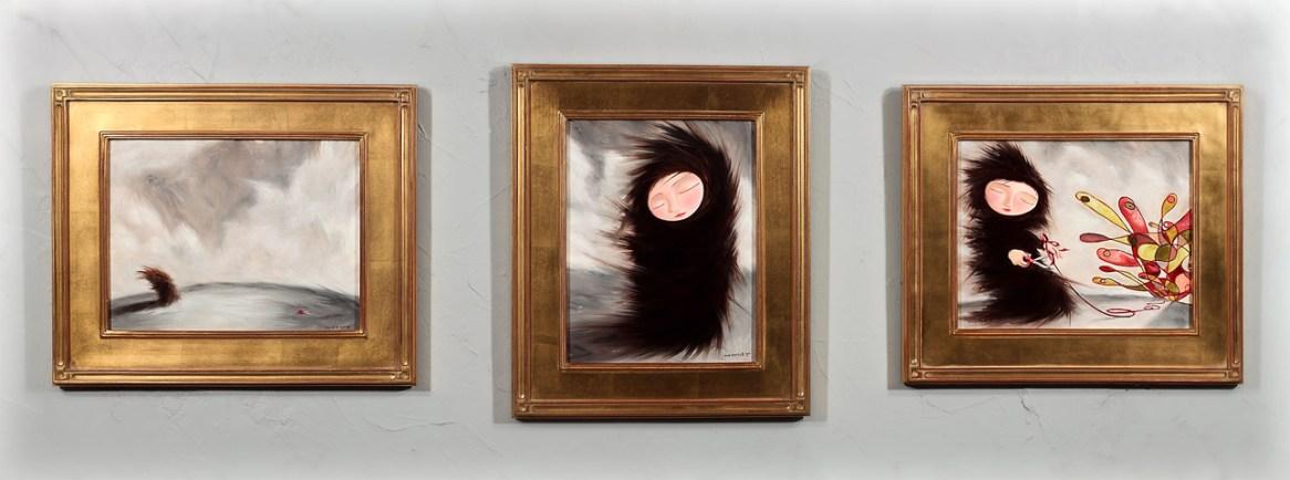 "Oil on panel Three panels, 68"" x 19"" total $3,800.00"