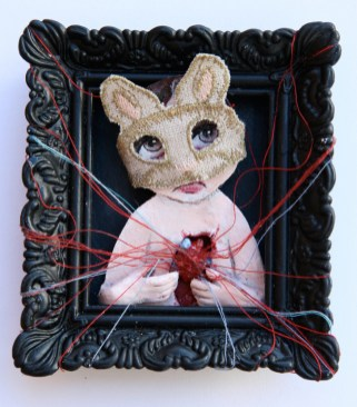 """Acrylic, linen, embroidery thread, on paper 2.5"""" x 3"""" $375.00 Sold"""