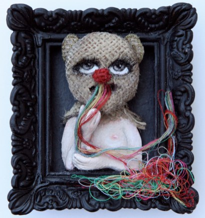 """Acrylic, linen, embroidery thread, on paper 2.5"""" x 3"""" $375.00"""