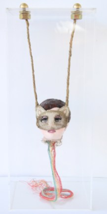 "Burlap, acrylic, thread, sculpture 5"" x 5"" x 13"" in Acrylic box $750.00 Sold"