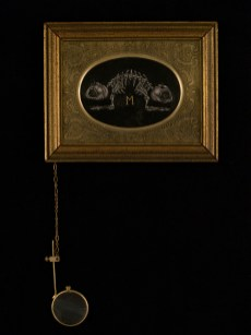 """Oil on canvas with chain and magnifying glass 4.75"""" x 3.75"""" $350.00 Sold"""