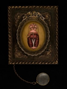 "Oil on panel with chain and magnifying glass 6"" x 7"" $500.00 Sold"