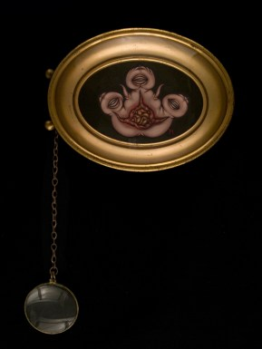 "Oil on panel with chain and magnifying glass 5.5"" x 4"" $400.00 Sold"