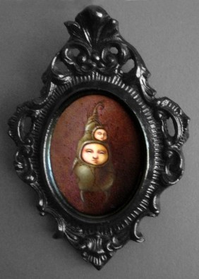 "Oil on wood 2.5"" x 3.5"" in ornate antique frame $300.00 Sold"