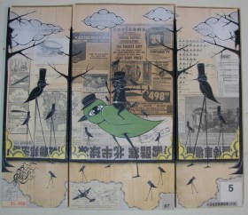 """Mixed media on wood Triptych 25.75"""" x 22.5"""" $700.00 Sold"""