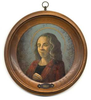 """Acrylic on illustration board in antique wooden frame Tondo, 5.5"""" in 8"""" frame $800.00"""