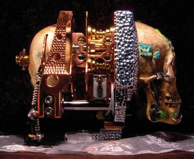 "Copper, aluminum, brass, bronze, titanium, silver, gold, mercury, the artist's blood, wood, glass, pearls, rubies, sapphires, turquioses, human skull, human jaw, and sand 24"" x 44"" x 90"" $240,000.00"