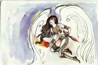 """Watercolor on paper 12"""" x 8"""" $300.00"""