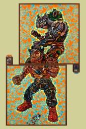 "Oil on canvas 75"" x 124"" (plus frame)"