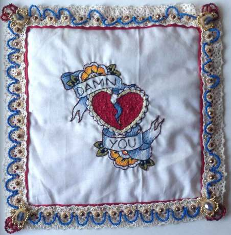 8.5 x 8.5 in. / 11 x 14 in. framed, Embroidery, beadwork on linen & satin $350.00