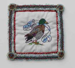 8 x 8 in. / 11 x 14 in. framed, Embroidery, beadwork on linen & satin $400.00