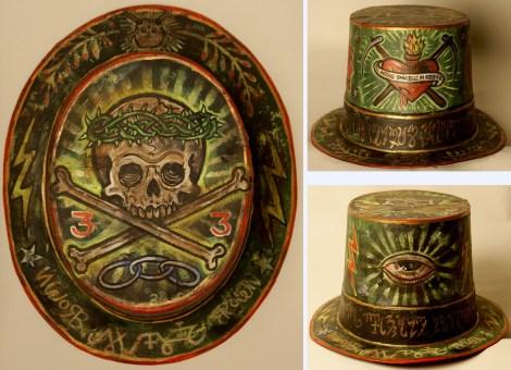 9 x 11 x 5.5 in. Acrylic on cardboard hat $300.00 Sold