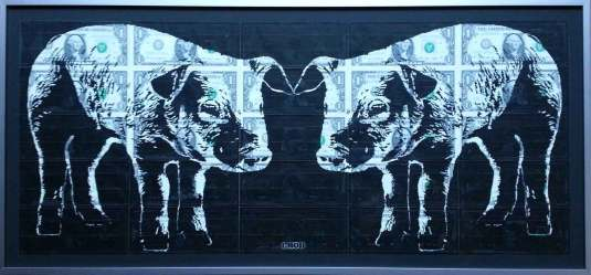 30 x 13 in. / 32 x 15 in. framed, Ink on circulated US Currency $1,200.00