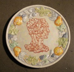 11 in. tondo, China paint, mother of pearl luster on glazed earthenware $3,000.00