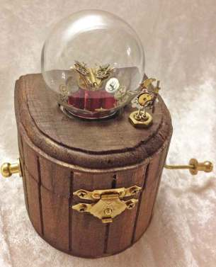 3 x 4 x 3.5 in. Mechanical sculpture of clockwork, real butterfly, garnet gemstones $450.00