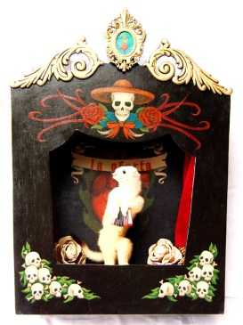 13 x 17 x 4 in. Ermine mount, acrylic on mahogany, velvet, antique frame, flickering light, dried flowers $495.00