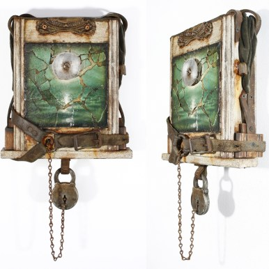"""Acrylic, paint chips, antique hardware, salvaged wood, recycled leather, velvet, chain, and masonite. 9.5"""" x 18"""" x 3.5"""" $1,200.00"""