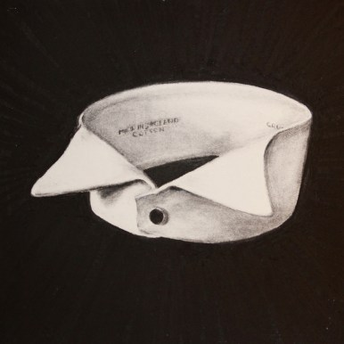 """Charcoal on paper 7.5"""" x 7.5"""" in 8.5"""" x 8.5"""" frame $450.00"""