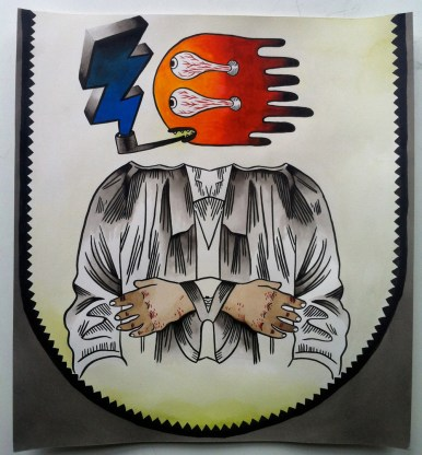 """Gouache, acrylic and India ink on paper 12 7/16"""" x 13 9/16"""" in frame $600.00"""